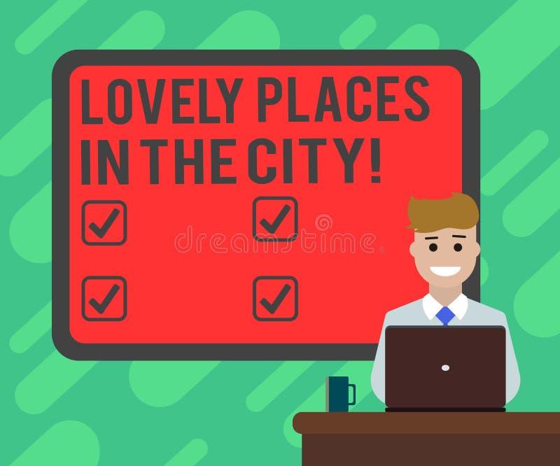 Escrita conceptual da mão que mostra lugares bonitos na cidade Construções bonitas da arquitetura do marco do texto da foto do ne ilustração stock