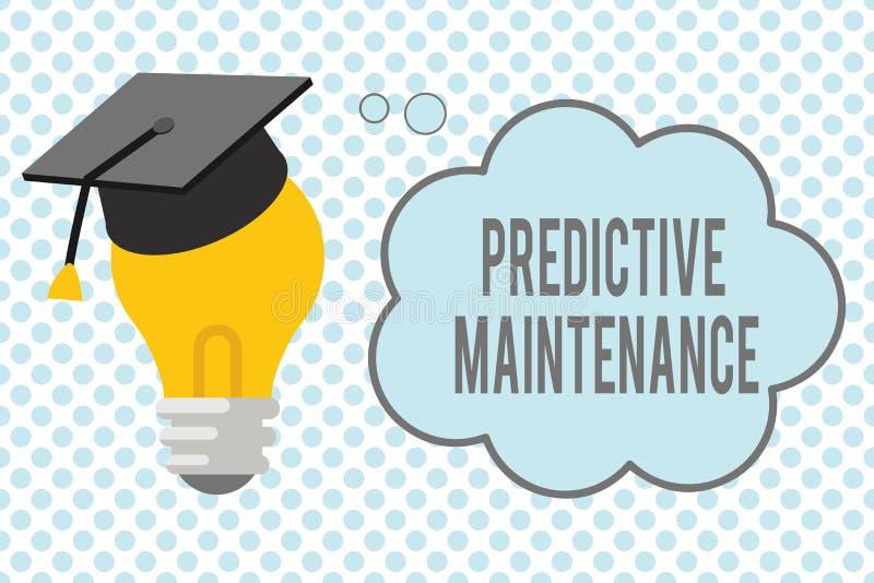 Escrita conceptual da mão que mostra a manutenção com caráter de previsão Apresentar da foto do negócio previr quando falha de eq ilustração stock