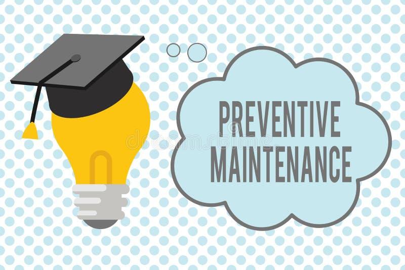 Escrita conceptual da mão que mostra a manutenção preventiva Apresentar da foto do negócio evitar a divisão feita quando máquina ilustração royalty free
