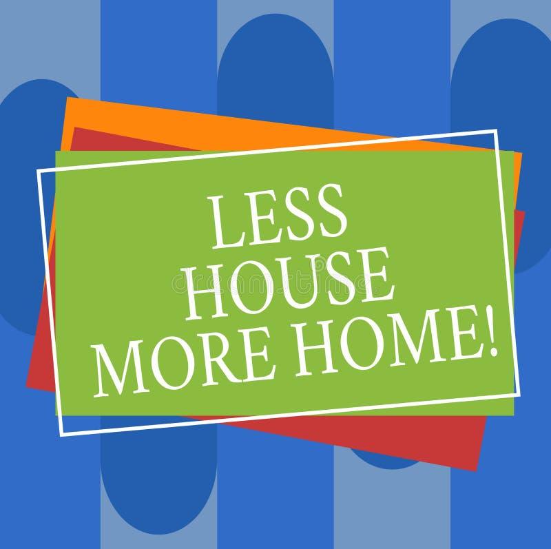 Escrita conceptual da mão que mostra a menos casa mais casa O texto da foto do negócio tem um lugar confortável morno a viver com ilustração do vetor