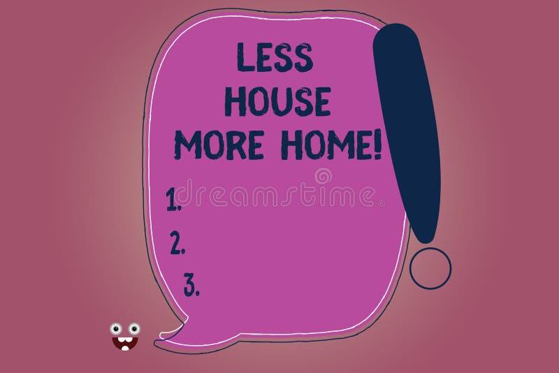 Escrita conceptual da mão que mostra a menos casa mais casa O texto da foto do negócio tem um lugar confortável morno a viver com ilustração royalty free