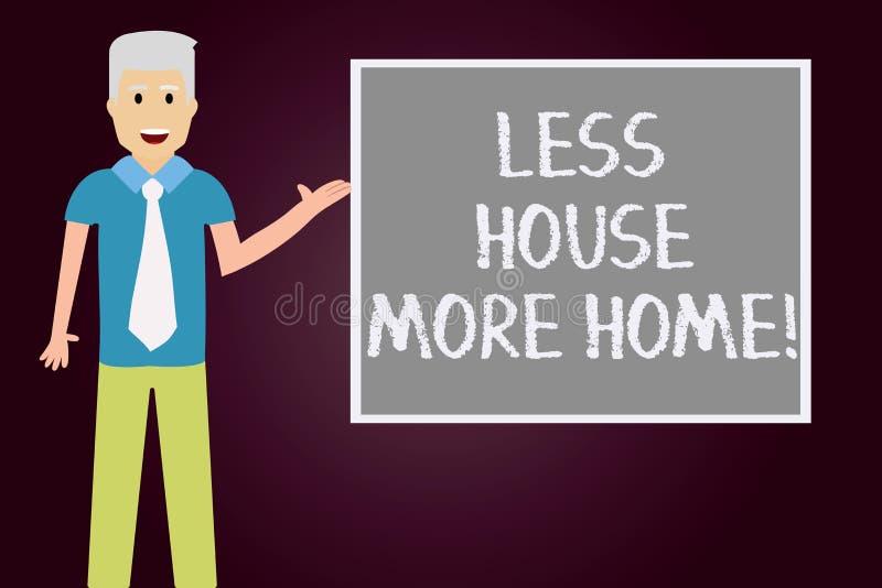 Escrita conceptual da mão que mostra a menos casa mais casa O texto da foto do negócio tem um lugar confortável morno a viver com ilustração stock