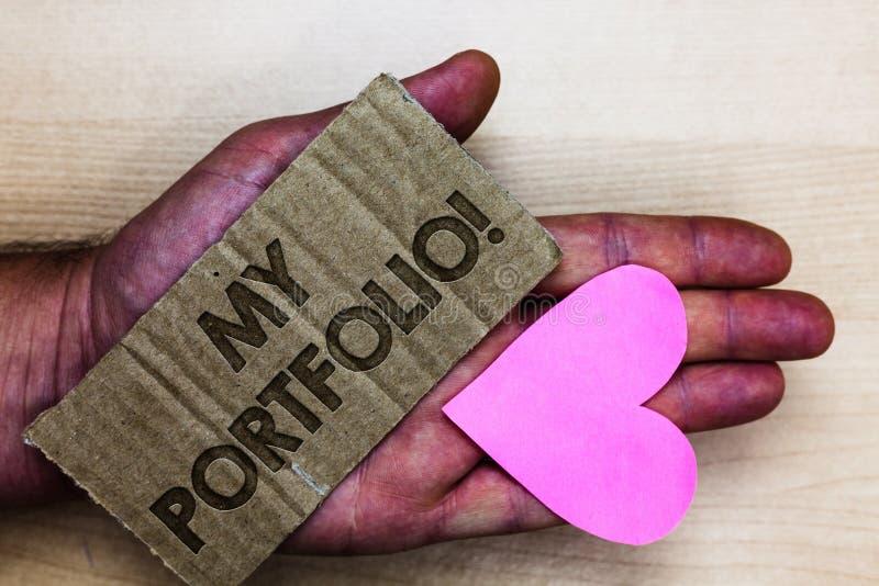 Escrita conceptual da mão que mostra a meu portfólio a chamada inspirador Amostras do texto da foto do negócio de fotografia Pack fotografia de stock royalty free