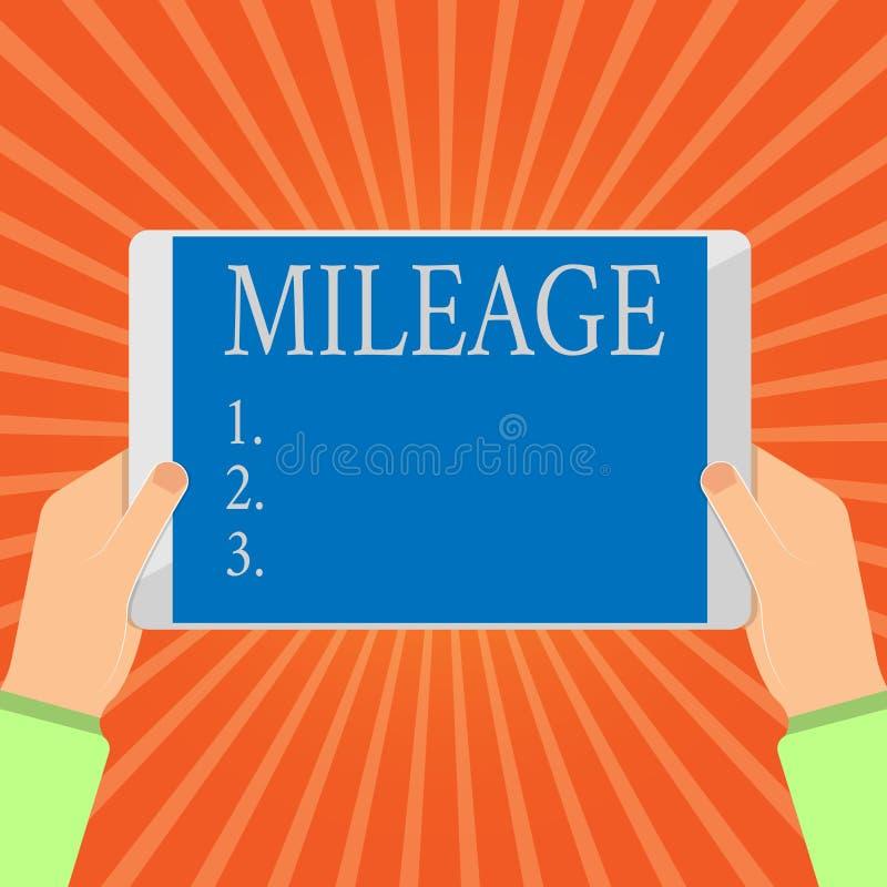 Escrita conceptual da mão que mostra a milhagem O número apresentando da foto do negócio de milhas viajou ou cobriu o painel de e ilustração royalty free