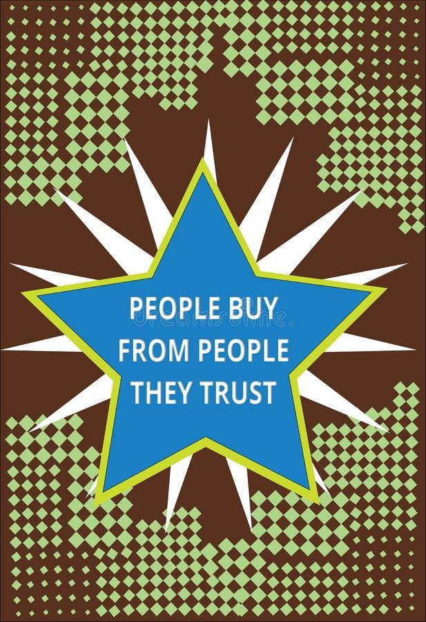 Escrita conceptual da mão que mostra mostrando a compra que mostra dos eles confiança e cliente da construção do texto da foto do ilustração do vetor