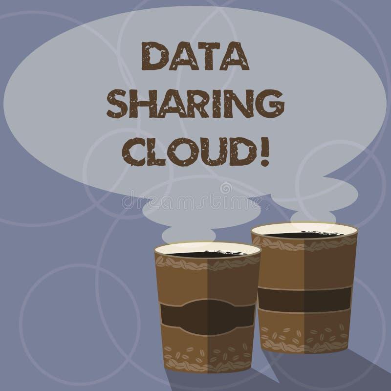 Escrita conceptual da mão que mostra a nuvem da partilha de dados Foto do negócio que apresenta usando tecnologias do Internet pa ilustração royalty free