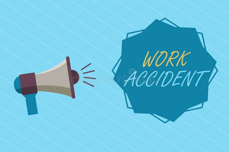 Escrita conceptual da mão que mostra o acidente de trabalho Ferimento apresentando do erro da foto do negócio aconteceu no lugar  ilustração stock