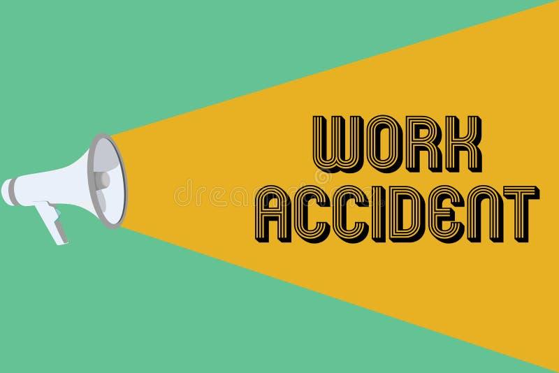 Escrita conceptual da mão que mostra o acidente de trabalho Ferimento apresentando do erro da foto do negócio aconteceu no lugar  ilustração royalty free