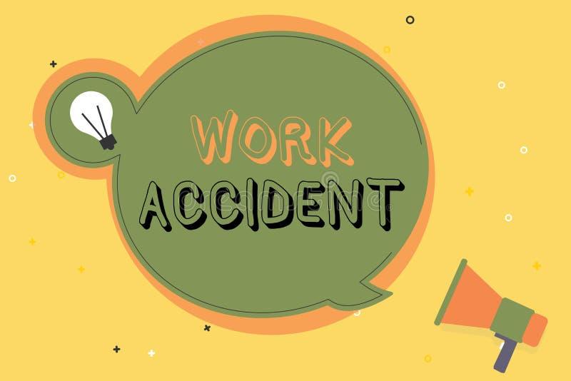 Escrita conceptual da mão que mostra o acidente de trabalho Ferimento do erro do texto da foto do negócio aconteceu no lugar do t ilustração royalty free