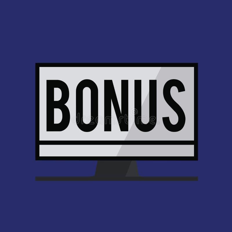 Escrita conceptual da mão que mostra o bônus A recompensa do texto da foto do negócio para o dividendo extra e o dinheiro de bom  ilustração stock