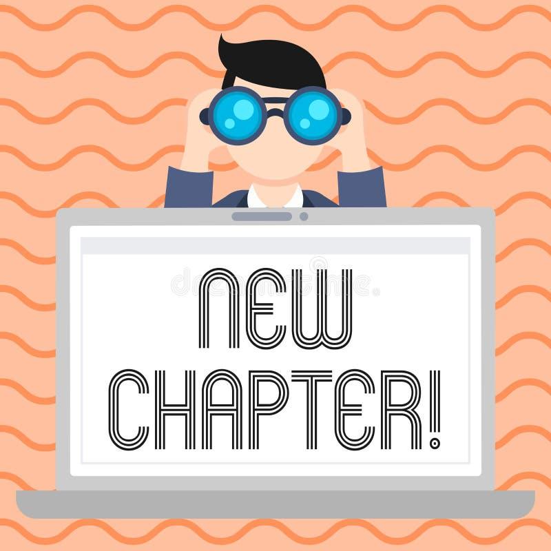 Escrita conceptual da mão que mostra o capítulo novo A foto do negócio que apresenta começando finalmente algo objetivos criou de ilustração do vetor