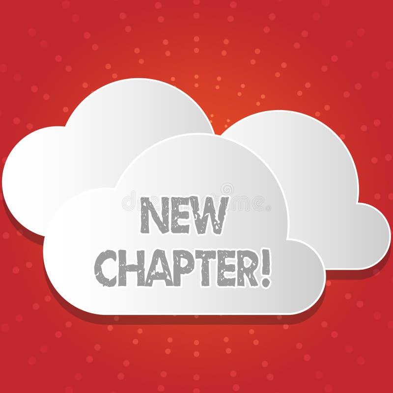 Escrita conceptual da mão que mostra o capítulo novo A foto do negócio que apresenta começando finalmente algo objetivos criou de ilustração stock