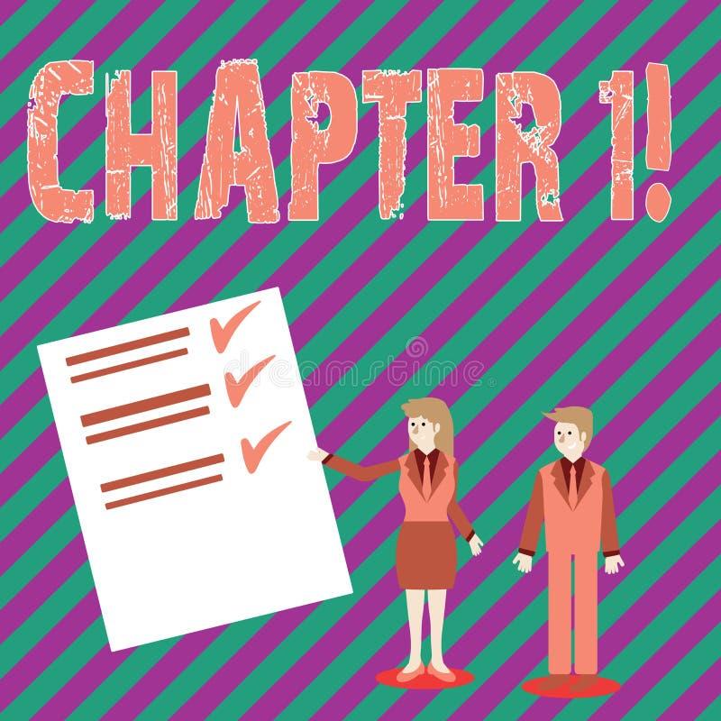 Escrita conceptual da mão que mostra o capítulo 1 Texto da foto do negócio que começa algo novo ou que faz mudanças grandes em um ilustração do vetor