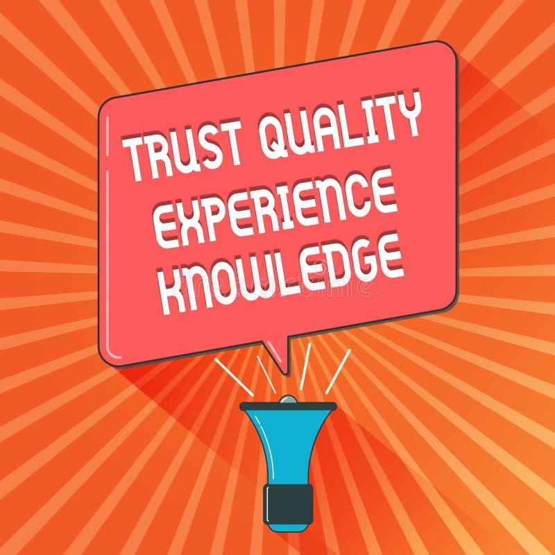 Escrita conceptual da mão que mostra o conhecimento da experiência da qualidade da confiança Serviço de qualidade apresentando do ilustração do vetor