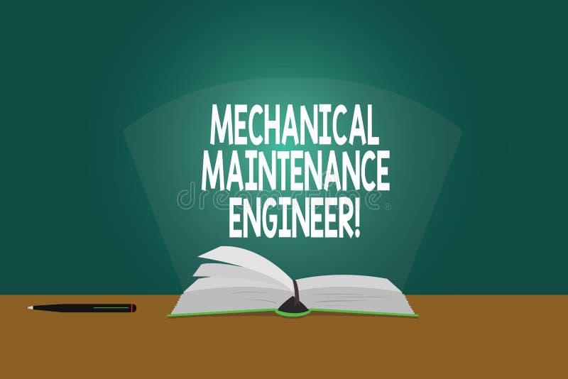 Escrita conceptual da mão que mostra o coordenador mecânico da manutenção Responsável apresentando da foto do negócio para máquin ilustração do vetor