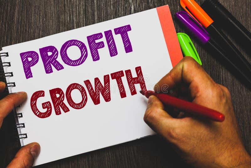 Escrita conceptual da mão que mostra o crescimento de lucro A inter-relação dos objetivos do texto da foto do negócio de partes d imagens de stock royalty free