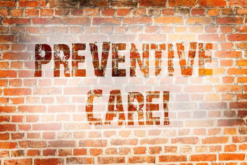 Escrita conceptual da mão que mostra o cuidado preventivo O diagnóstico apresentando da prevenção da saúde da foto do negócio tes imagem de stock