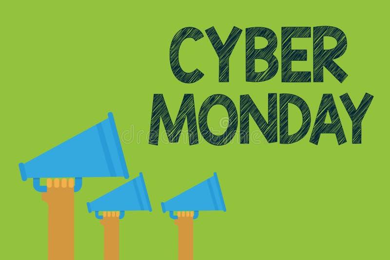 Escrita conceptual da mão que mostra o Cyber segunda-feira Termo de mercado do texto da foto do negócio para segunda-feira após o ilustração royalty free