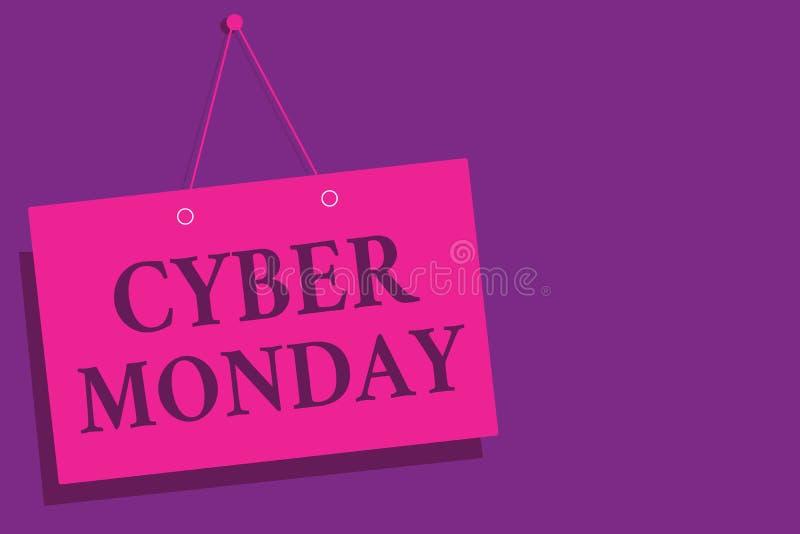 Escrita conceptual da mão que mostra o Cyber segunda-feira Termo de mercado do texto da foto do negócio para segunda-feira após o ilustração stock