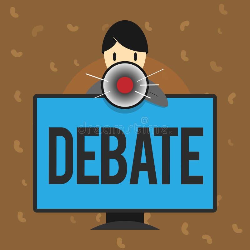 Escrita conceptual da mão que mostra o debate Discussão do texto da foto do negócio no detalhe na reunião ou legislativo formal ilustração do vetor