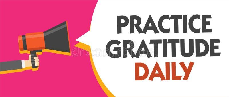Escrita conceptual da mão que mostra o diário da gratitude da prática Apresentar da foto do negócio seja grato àqueles que ajudar ilustração stock