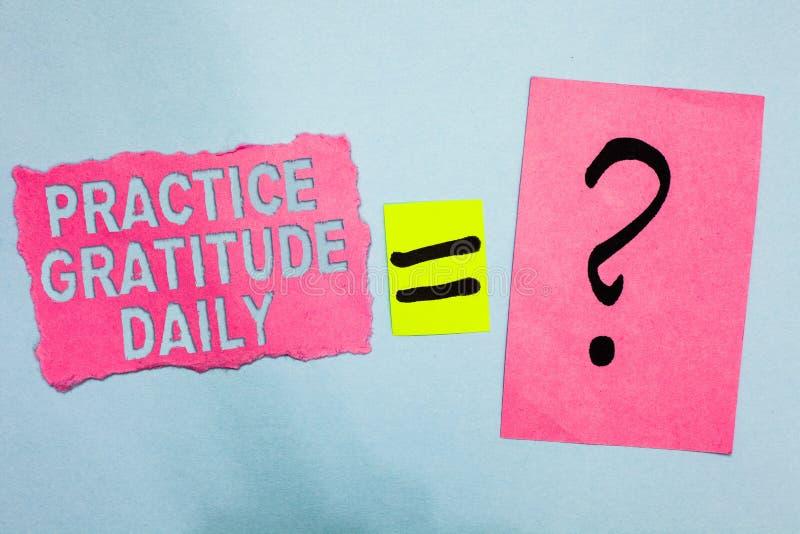 Escrita conceptual da mão que mostra o diário da gratitude da prática Apresentar da foto do negócio seja grato àqueles que ajudar ilustração royalty free