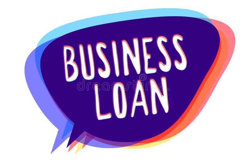 Escrita conceptual da mão que mostra o empréstimo comercial Dinheiros adiantados da ajuda econômica da hipoteca do crédito do tex ilustração do vetor