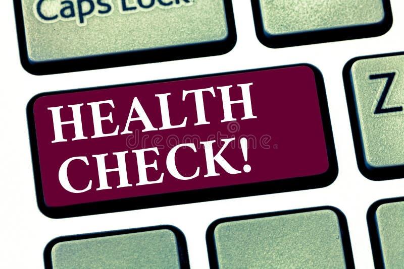Escrita conceptual da mão que mostra o exame médico completo Testes apresentando do diagnóstico do exame médico da foto do negóci imagem de stock royalty free
