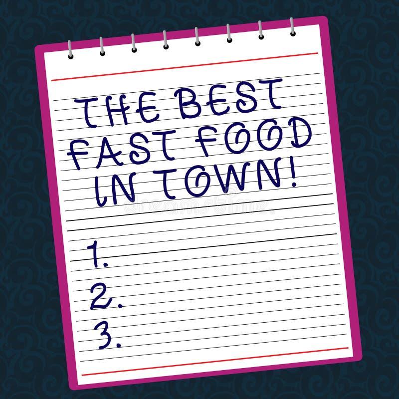 Escrita conceptual da mão que mostra o melhor fast food na cidade Hamburgueres saborosos e fritadas dos pratos da sucata do texto imagem de stock