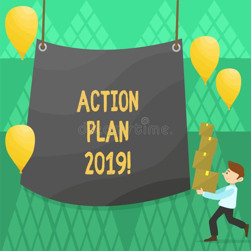 Escrita conceptual da mão que mostra o plano de ação 2019 Objetivos apresentando das ideias do desafio da foto do negócio pelo an ilustração do vetor