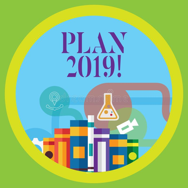 Escrita conceptual da mão que mostra o plano 2019 Objetivos de desafio apresentando das ideias da foto do negócio para a motivaçã ilustração do vetor