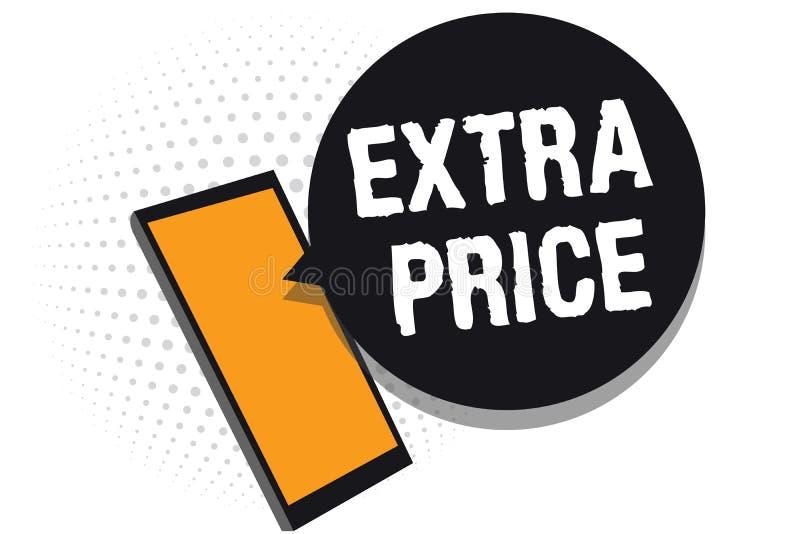 Escrita conceptual da mão que mostra o preço extra Definição do preço extra do texto da foto do negócio além do grande phon ordin ilustração do vetor