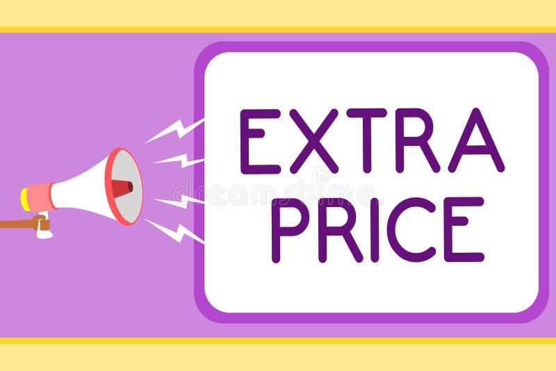 Escrita conceptual da mão que mostra o preço extra Foto do negócio que apresenta a definição do preço extra além do grande homem  ilustração royalty free