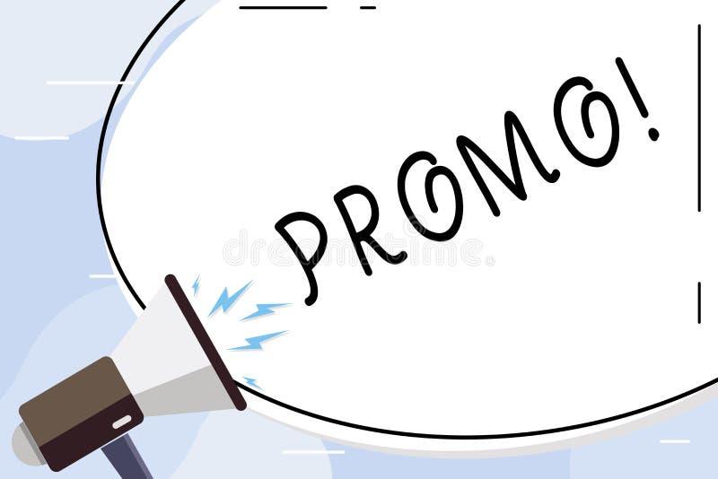 Escrita conceptual da mão que mostra o Promo Parte do texto da foto do negócio de anunciar a forma oval da venda da oferta especi ilustração stock