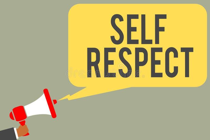 Escrita conceptual da mão que mostra o respeito do auto O orgulho e a confiança do texto da foto do negócio noneself representam  ilustração royalty free
