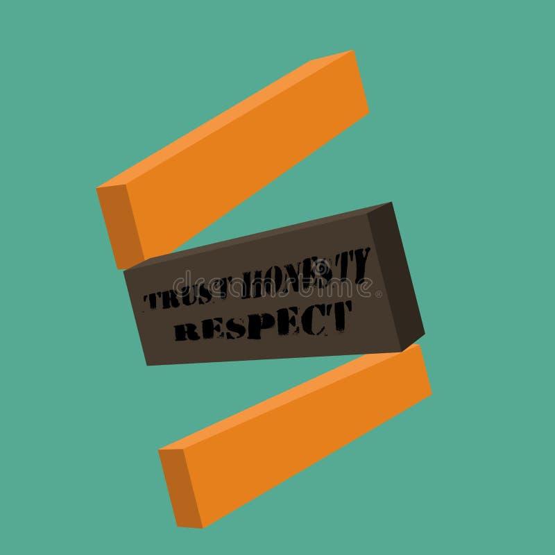 Escrita conceptual da mão que mostra o respeito da honestidade da confiança Foto do negócio que apresenta traços respeitáveis uma ilustração royalty free