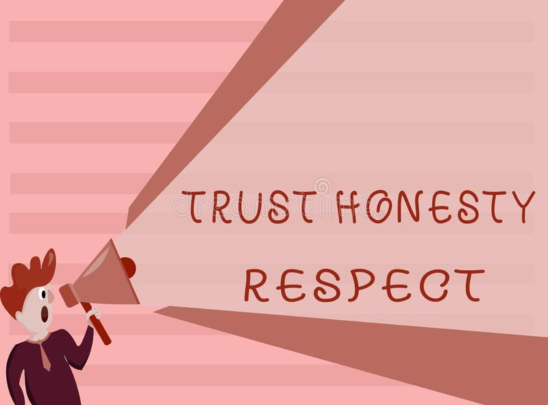Escrita conceptual da mão que mostra o respeito da honestidade da confiança Foto do negócio que apresenta traços respeitáveis uma ilustração do vetor