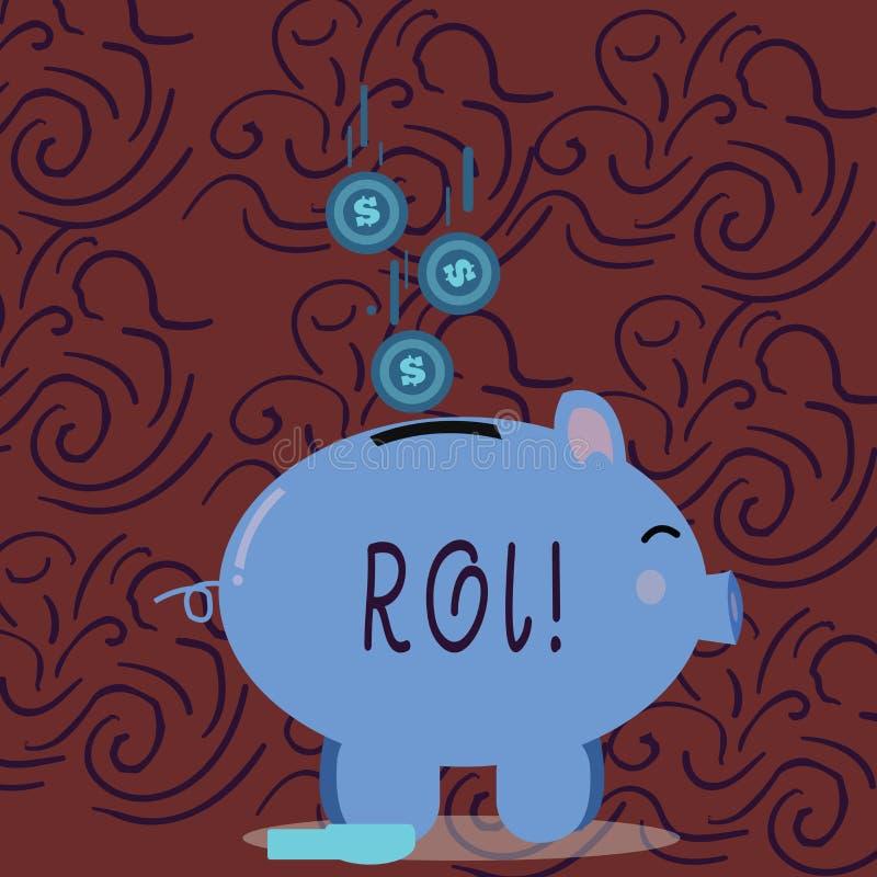 Escrita conceptual da mão que mostra o Roi Retorno apresentando da foto do negócio na medida da avaliação de Perforanalysisce do  imagens de stock