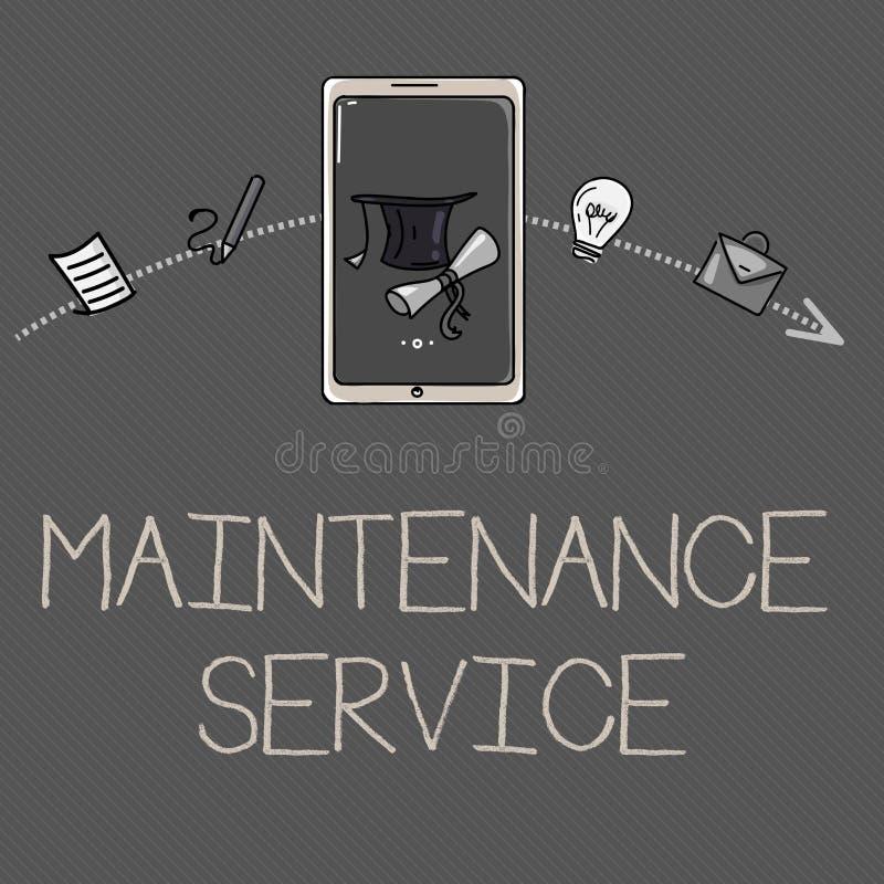 Escrita conceptual da mão que mostra o serviço de manutenção Apresentar da foto do negócio mantém um serviço do produto no bom fu ilustração stock