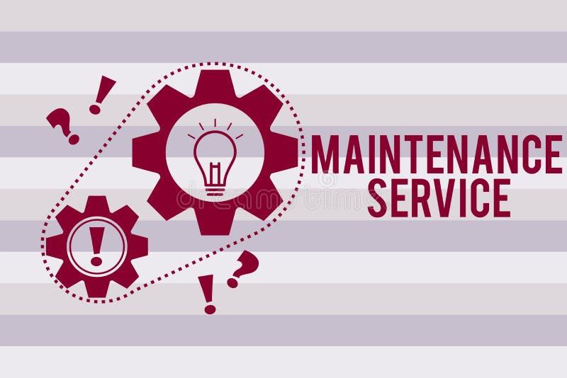 Escrita conceptual da mão que mostra o serviço de manutenção O texto da foto do negócio mantém um serviço do produto no bom funci ilustração stock