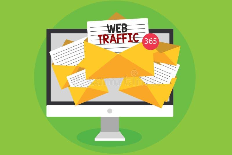 Escrita conceptual da mão que mostra o tráfego da Web Uma quantidade apresentando da foto do negócio de dados enviados e recebido imagem de stock