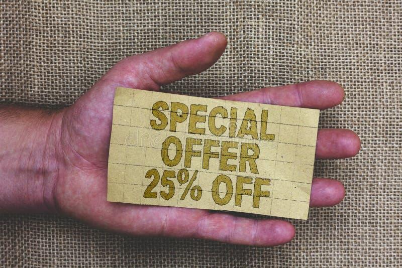 Escrita conceptual da mão que mostra a oferta especial 25 fora Oferta varejo apresentando T do mercado das vendas da promoção dos foto de stock