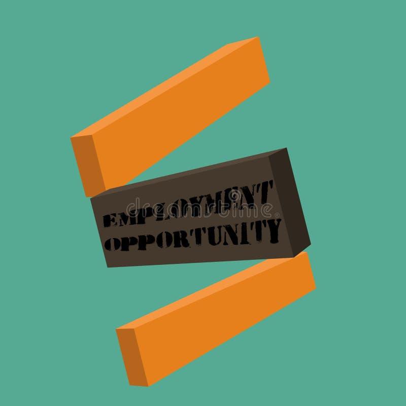 Escrita conceptual da mão que mostra a oportunidade de emprego Foto do negócio que não apresenta nenhuma discriminação contra o c ilustração stock