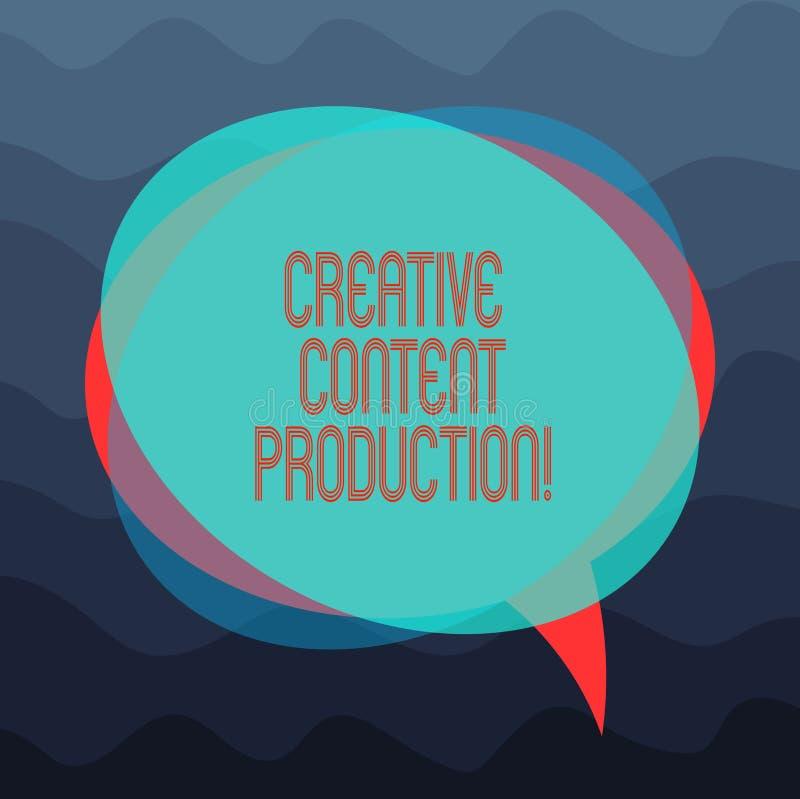 Escrita conceptual da mão que mostra a produção satisfeita criativa Tornar-se da foto do negócio e criar apresentando visual ou ilustração royalty free