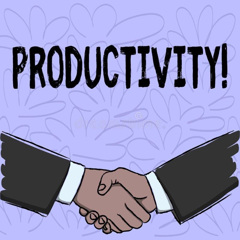 Escrita conceptual da mão que mostra a produtividade Sucesso do perforanalysisce do trabalho eficaz do texto da foto do negócio g ilustração stock