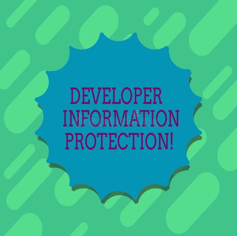 Escrita conceptual da mão que mostra a proteção de informação do colaborador Informação importante da proteção do texto da foto d ilustração royalty free