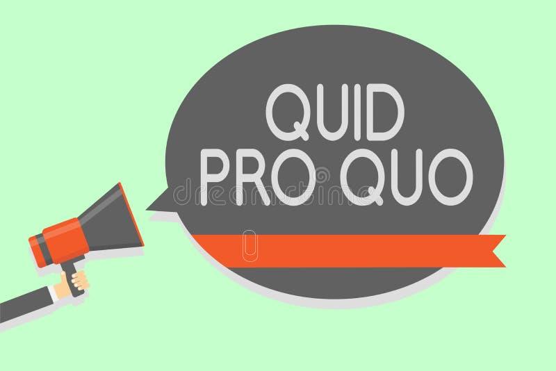 Escrita conceptual da mão que mostra quid pro quo Foto do negócio que apresenta o favor ou a vantagem de A concedido ou esperado  ilustração stock