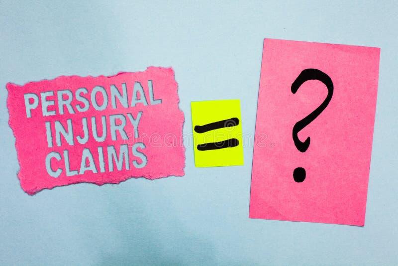 Escrita conceptual da mão que mostra reivindicações dos ferimentos pessoais Foto do negócio que apresenta sendo dano ou pi intern ilustração do vetor