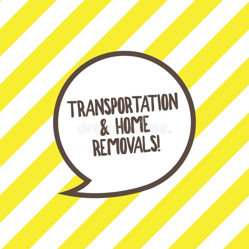 Escrita conceptual da mão que mostra remoções do transporte e da casa Casa nova de envio móvel dos pacotes do texto da foto do ne ilustração royalty free