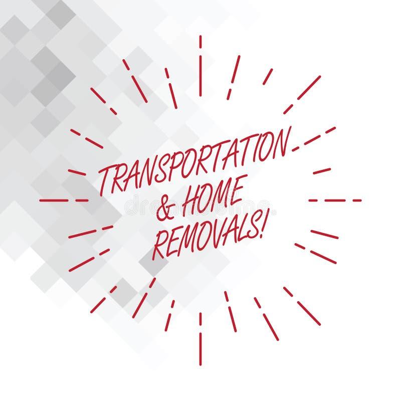 Escrita conceptual da mão que mostra remoções do transporte e da casa Pacotes de envio móveis apresentando da foto do negócio nov ilustração royalty free
